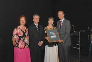 Diane Sampson accepting award in Montreal on behalf of Nile Creek Enhancement Society (NCES)